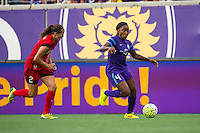 Orlando, FL - Sunday June 26, 2016: Katherine Reynolds, Jamia Fields  during a regular season National Women's Soccer League (NWSL) match between the Orlando Pride and the Portland Thorns FC at Camping World Stadium.