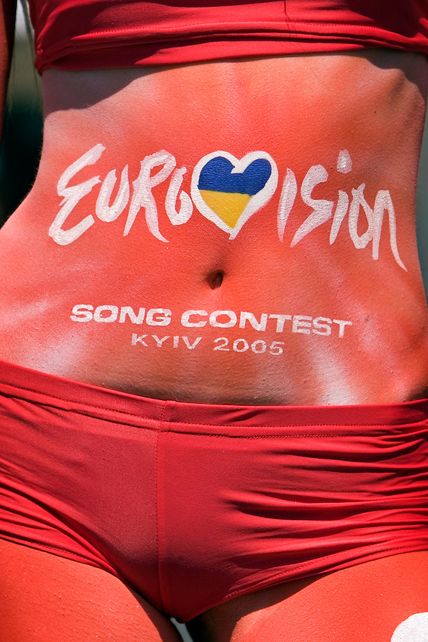 Kiev, Ukraine, 18/05/2005..The fiftieth Eurovision Song Contest..A model promoting Coca Cola, one of the contest's major sponsors..