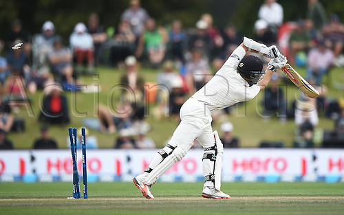 23.02.2016. Christchurch, New Zealand.  Kane Williamson bowled for 97 on Day 4 of the 2nd test match. New Zealand Black Caps versus Australia. Hagley Oval in Christchurch, New Zealand. Tuesday 23 February 2016.