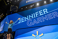 NWA Democrat-Gazette/CHARLIE KAIJO Jennifer Garner speaks during the Walmart shareholders meeting, Friday, June 7, 2019 at the Bud Walton Arena in Fayetteville.
