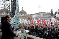 "Manifestazione ""Per la democrazia, la legalita', il lavoro, i diritti"" indetta da Partito Democratico, Italia dei Valori, Federazione della Sinistra, Sinistra Ecologia e Liberta', Verdi e popolo viola in piazza del Popolo a Roma, 13 marzo 2010. Nella foto, il Presidente dell'Italia dei Valori Antonio Di Pietro..Italian opposition parties and associations demonstrate in Rome, 13 march 2010, against Berlusconi's government. Pictured: Italia dei Valori party's president and former magistrate Antonio Di Pietro..UPDATE IMAGES PRESS/Riccardo De Luca"