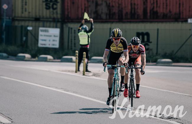 Lars Boom (NED/LottoNL-Jumbo) & David Boucher (BEL/Pauwels sauzen - Vastgoedservice) trying to break away at the race start in the Antwerp Harbour <br /> <br /> 92nd Schaal Sels 2017 <br /> 1 Day Race: Merksem > Merksem (188km)