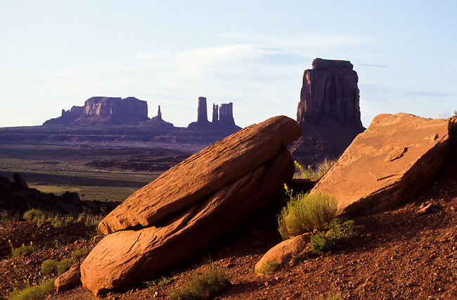 Sandstone rocks in Monument Valley National Park and navaho Indian reservation,  Utah, USA