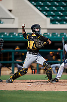 Pittsburgh Pirates catcher Jason Delay (64) throws to second base during a Florida Instructional League game against the Detroit Tigers on October 6, 2018 at Joker Marchant Stadium in Lakeland, Florida.  (Mike Janes/Four Seam Images)