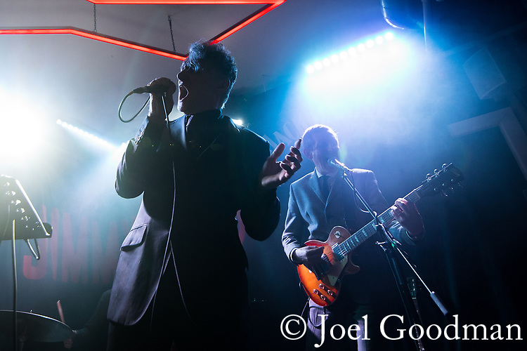 © Joel Goodman - 07973 332324 - all rights reserved . NO ONWARD SALE, TRANSFER OR SYNDICATION PERMITTED . 09/04/2018 . Manchester , UK . DUNSTAN BRUCE and STEPHEN GRIFFIN . Interrobang play live at Jimmy's . Photo credit : Joel Goodman