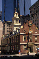 AJ4428, Boston, Old State House, statehouse, Massachusetts, The Old State House stands among the high-rise office buildings in downtown Boston in the state of Massachusetts.