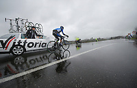 Jan Barta (CZE/Netapp-Endura) in need of some neutral assistance before he can rejoin the breakaway (who happens to take a nature break at the same time, ahead of him to the right)<br /> <br /> 2014 Milano - San Remo