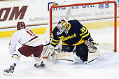 Danny Linell (BC - 10), Sam Marotta (Merrimack - 30) - The Boston College Eagles defeated the visiting Merrimack College Warriors 4-3 on Friday, November 16, 2012, at Kelley Rink in Conte Forum in Chestnut Hill, Massachusetts.