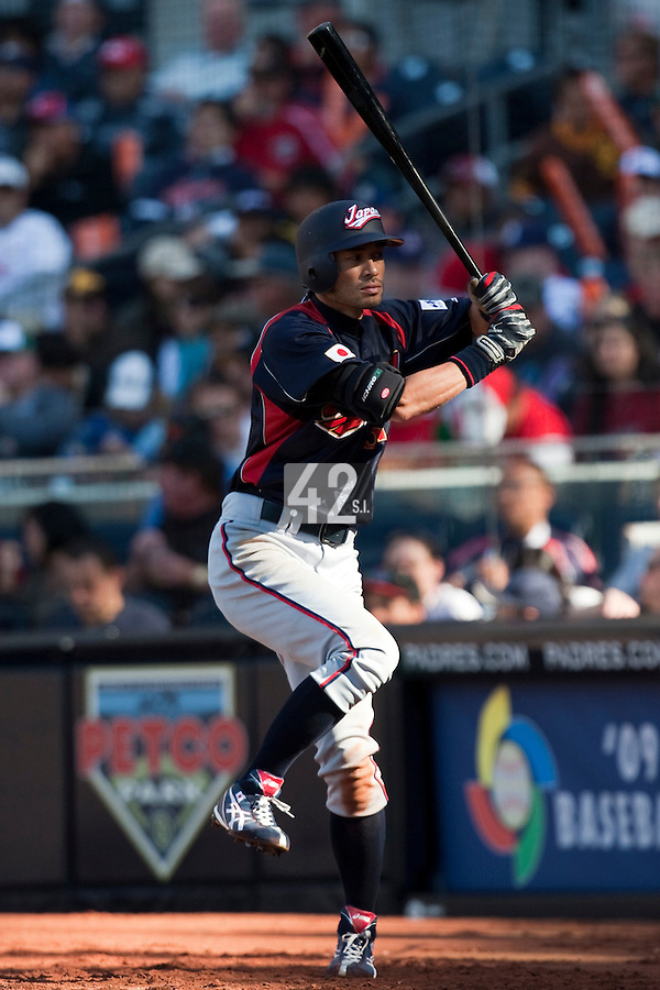 15 March 2009: #51 Ichiro Suzuki of Japan is seen in the batter box during the 2009 World Baseball Classic Pool 1 game 1 at Petco Park in San Diego, California, USA. Japan wins 6-0 over Cuba.