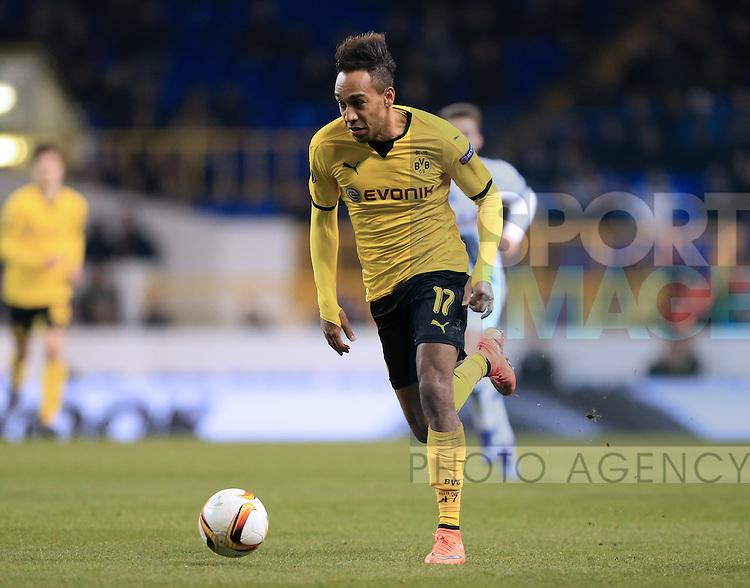Dortmund's Pierre-Emerick Aubameyang in action during the Europa League match at White Hart Lane Stadium.  Photo credit should read: David Klein/Sportimage