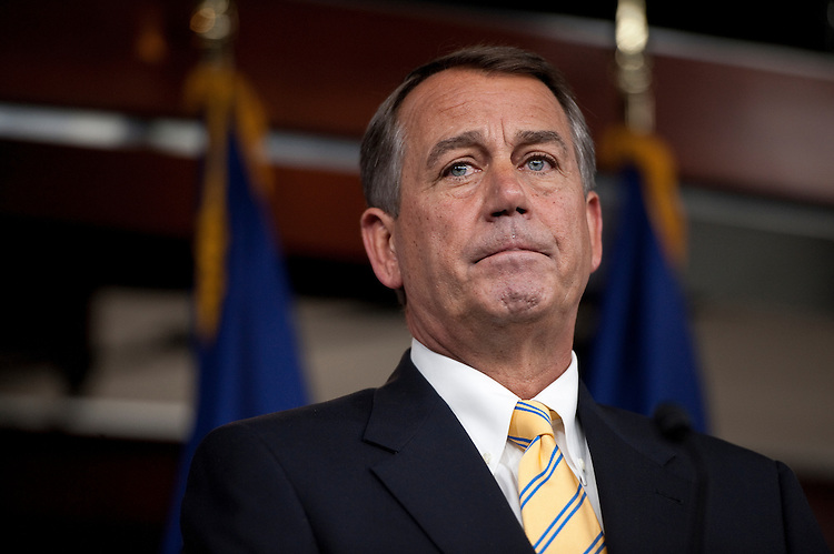 UNITED STATES - JULY 21: Speaker of the House John Boehner, R-Ohio, holds his weekly press conference at the Capitol on July 21, 2011. (Photo By Bill Clark/Roll Call)