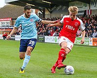 Fleetwood Town's Kyle Dempsey holds off the challenge from Accrington Stanley's Seamus Conneely<br /> <br /> Photographer Alex Dodd/CameraSport<br /> <br /> The EFL Sky Bet League One - Fleetwood Town v Accrington Stanley - Saturday 15th September 2018  - Highbury Stadium - Fleetwood<br /> <br /> World Copyright &copy; 2018 CameraSport. All rights reserved. 43 Linden Ave. Countesthorpe. Leicester. England. LE8 5PG - Tel: +44 (0) 116 277 4147 - admin@camerasport.com - www.camerasport.com