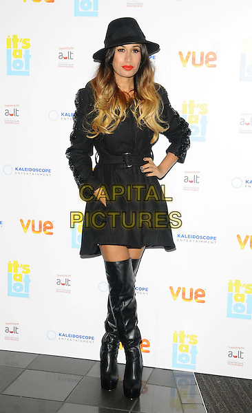 Preeya Kalidas<br /> The &quot;It's A Lot&quot; UK film premiere, Vue West End cinema, Leicester Square, London, England.<br /> October 21st, 2013<br /> full length black jacket mac hat otk over the knee high boots hand on hip dip dye blonde hair <br /> CAP/CAN<br /> &copy;Can Nguyen/Capital Pictures