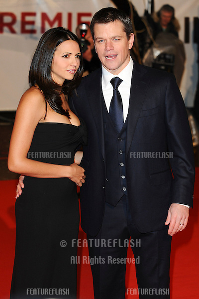 Matt Damon and wife, Luciana Barroso arriving for the 'Invictus' premiere at the Odeon West End, Leicester Square, London.  31/01/2010  Steve Vas / Featureflash