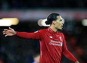 30th January 2019, Anfield, Liverpool, England; EPL Premier League football, Liverpool versus Leicester City; Virgil van Dijk of Liverpool directs his team mates as Liverpool defend a corner kick