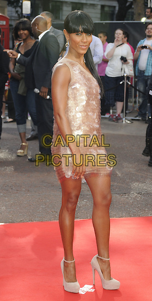"WILLOW  SMITH .The Gala Premiere of ""The Karate Kid"", Odeon Leicester Square, London, England, UK. .15th July 2010 .full length fringe bangs ponytail hair up pink one shoulder beige shiny paillettes dress discs cream white ankle strap shoes  .CAP/CAN.©Can Nguyen/Capital Pictures."