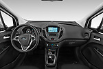 Stock photo of straight dashboard view of a 2018 Ford transit courier Limited 4 Door Car Van