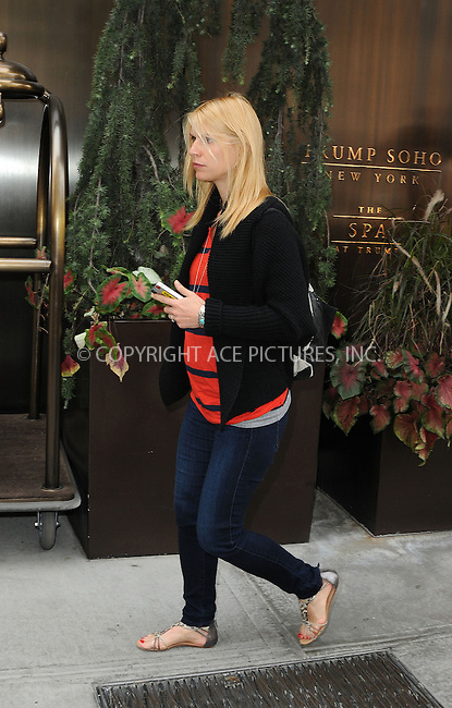 WWW.ACEPIXS.COM....September 6 2012, New York City....Actress Claire Danes, who is pregnant with her first child, leaves a Soho hotel on September 6 2012 in New York City......By Line: Curtis Means/ACE Pictures......ACE Pictures, Inc...tel: 646 769 0430..Email: info@acepixs.com..www.acepixs.com