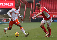 Blackpool's Nick Anderton takes on Charlton Athletic's Ben Purrington<br /> <br /> Photographer David Shipman/CameraSport<br /> <br /> The EFL Sky Bet League One - Charlton Athletic v Blackpool - Saturday 16th February 2019 - The Valley - London<br /> <br /> World Copyright © 2019 CameraSport. All rights reserved. 43 Linden Ave. Countesthorpe. Leicester. England. LE8 5PG - Tel: +44 (0) 116 277 4147 - admin@camerasport.com - www.camerasport.com
