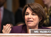 United States Senator Amy Klobuchar (Democrat of Minnesota) makes an opening statement during the US Senate Committee on the Judiciary meeting to vote on the nomination of Judge Brett Kavanaugh to be Associate Justice of the US Supreme Court to replace the retiring Justice Anthony Kennedy on Capitol Hill in Washington, DC on Friday, September 28, 2018.  If the committee votes in favor of Judge Kavanaugh then it goes to the full US Senate for a final vote.<br /> Credit: Ron Sachs / CNP<br /> (RESTRICTION: NO New York or New Jersey Newspapers or newspapers within a 75 mile radius of New York City)