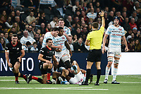 17th November 2019,  Paris La Défense Arena, Hauts-de-Seine, France; Champions Cup Rugby Union, Racing 92 versus Saracens;  Virimi Vakatawa (Racing ) and HENRY CHAVANCY (Racing ) as the referee signals
