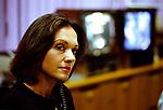 Anna Ford British Television News presenters.  BBC News at 6.00 studio. 1990s UK