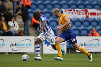 Brandon Hanlan of Colchester United under pressure from David Mirfin of Mansfield Town during Colchester United vs Mansfield Town, Sky Bet EFL League 2 Football at the Weston Homes Community Stadium on 7th October 2017