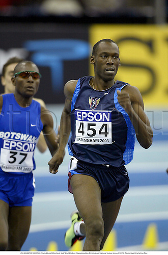 454. KHADEVIS ROBINSON (USA), Men's 800m Heat. IAAF World Indoor Championships, Birmingham National Indoor Arena, 030314. Photo: Glyn Kirk/Action Plus...2003.athletics track and field athlete athletes man men distance