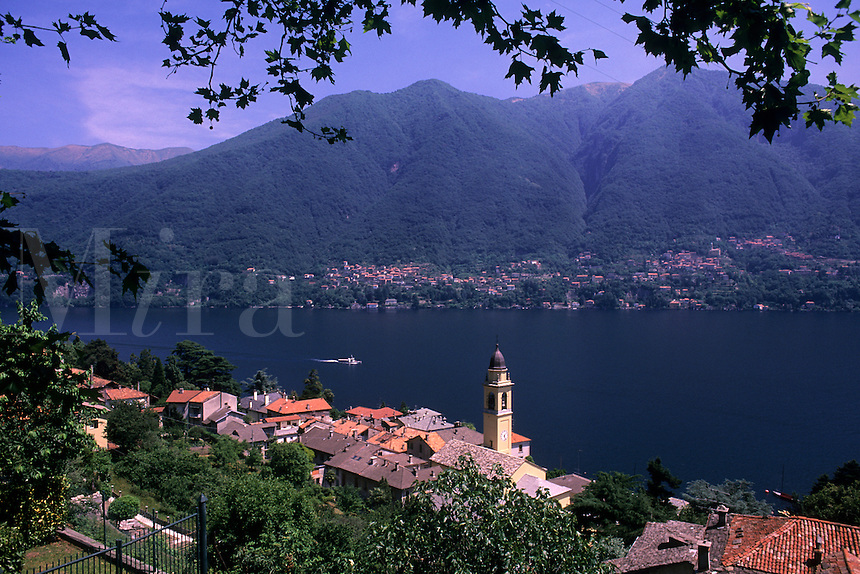 Beautiful Lake Como area of Northern Italy view from above of church in Lake Cemobbi
