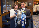 St Johnstone v Dundee United....17.05.14   William Hill Scottish Cup Final<br /> Chairman Steve Brown pictured with his wife Louise and the Scottish Cup in the boardroom back at McDiarmid Park<br /> Picture by Graeme Hart.<br /> Copyright Perthshire Picture Agency<br /> Tel: 01738 623350  Mobile: 07990 594431