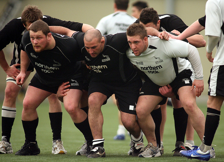 Photo: Paul Thomas..Newcastle Falcons training session. 27/03/2007...(L-R) Micky Ward, Andy Long and Jon Golding during the Newcastle Falcons training session at Newcastle United Football Club's indoor shed.