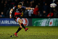 Dorian Jones of Dragon scores a conversion  during the European Challenge Cup match between Dragons and Bordeaux Begles at Rodney Parade, Newport, Wales, UK. 20 January 2018