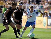 Leigh Ann Robinson (left) and Tiffany Weimer (8) pursue Christine Lilly (right) down the field. Boston Breakers defeated FC Gold Pride 1-0 at Buck Shaw Stadium in Santa Clara, California on July 19, 2009.