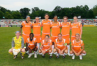 Sky Blue FC pose for a photo before a WPS match against the St. Louis Athletica at Anheuser-Busch Soccer Park, in St. Louis, MO, June 7 2009.  Athletica won the match 1-0.