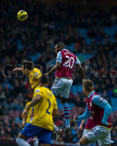 12.01.2013 Birmingham, England.  Aston Villa's Christian Benteke in action during the Premier League game between Aston Villa and Southampton from Villa Park.