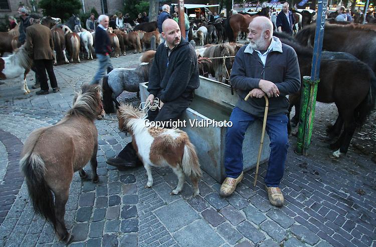 Foto: VidiPhoto..ELST - De paardenmarkt in het Gelderse Elst lijkt dit jaar opnieuw de grootste te zijn. Maandagmorgen werden er zo'n 2200 paarden en pony's aangevoerd. Met dit aantal werden de concurrenten Hedel en Zuid-Laren vorig jaar al verslagen. Die blijven steken op zo'n 2000 dieren. Elst is bovendien de oudste paardenmarkt van Nederland. De najaarsmarkt werd maandag voor de 750e keer gehouden. Hoewel er flink gehandeld werd, zijn de prijzen in de paardensector door het grote aanbod in Nederland, erg laag..