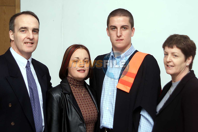 Colm Quinn from College Rise who received a certificate in Electronics pictured with his parents Frank and Marian and Gillian Wilson at the Dundalk Institute of Technology Conferring Day..Picture: Paul Mohan/Newsfile