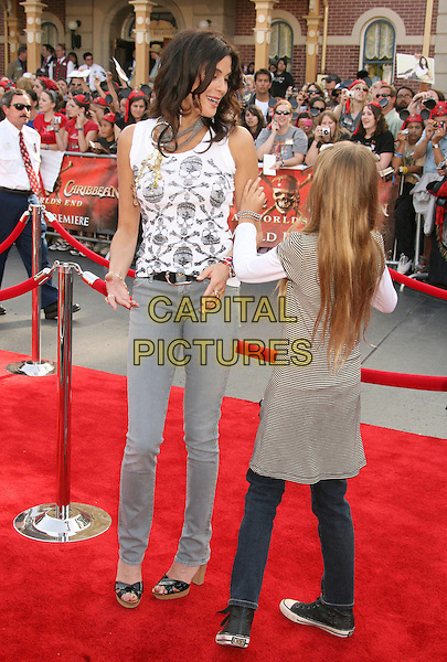 "TERI HATCHER & EMERSON.""Pirates Of The Caribbean: At World's End"" World Premiere held at Disneyland, Anaheim, California, USA,.May 19th, 007.3 full length dress back behind rear mother mom mum daughter family white grey gray skull crossbones top skinny jeans black wooden heel shoes.CAP/ADM/RE.©Russ Elliot/AdMedia/Capital Pictures"