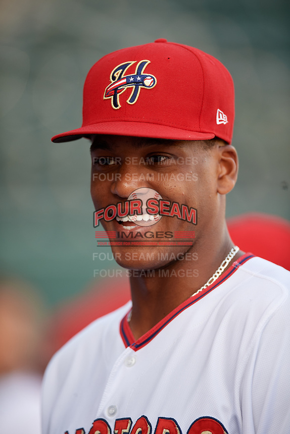 Harrisburg Senators Adam Brett Walker (28) before a game against the Erie SeaWolves on August 29, 2018 at FNB Field in Harrisburg, Pennsylvania.  Harrisburg defeated Erie 5-4.  (Mike Janes/Four Seam Images)
