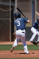 San Diego Padres outfielder Nate Easley (3) at bat during an Extended Spring Training game against the Colorado Rockies at Peoria Sports Complex on March 30, 2018 in Peoria, Arizona. (Zachary Lucy/Four Seam Images)