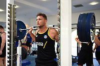 Jack Davies of Bath Rugby in the gym. Bath Rugby pre-season training on July 2, 2018 at Farleigh House in Bath, England. Photo by: Patrick Khachfe / Onside Images