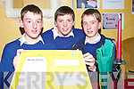 MARKET: Enterprising students from Pobail Scoil Chorca Dhuibhne Eoin O'Sullivan, Jamie Flannery and Ciaran Williams, finalists in the Kerry County Enterprise Boards' Annual Student Enterprise Awards on Tuesday whose project targeted the restaurant presentation market.   Copyright Kerry's Eye 2008
