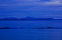 Dawn looking south over the Strait of Juan de Fuca from French Beach, Vancouver Island, British Columbia toward Port Angeles and the Hurricane Ridge area of Olympic National Park in Washington State, USA.