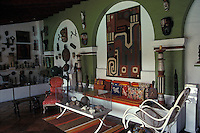 A room in the Robert Brady House-Museum in Cuernavaca, Morelos, Mexico. The casa de la Torre, the former house of American Robert Brady, now houses his collection of folk art from Mexico and around the world.