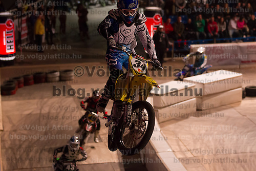 Indoor Super Moto-Cross race in Budapest, Hungary on February 4, 2012. ATTILA VOLGYI