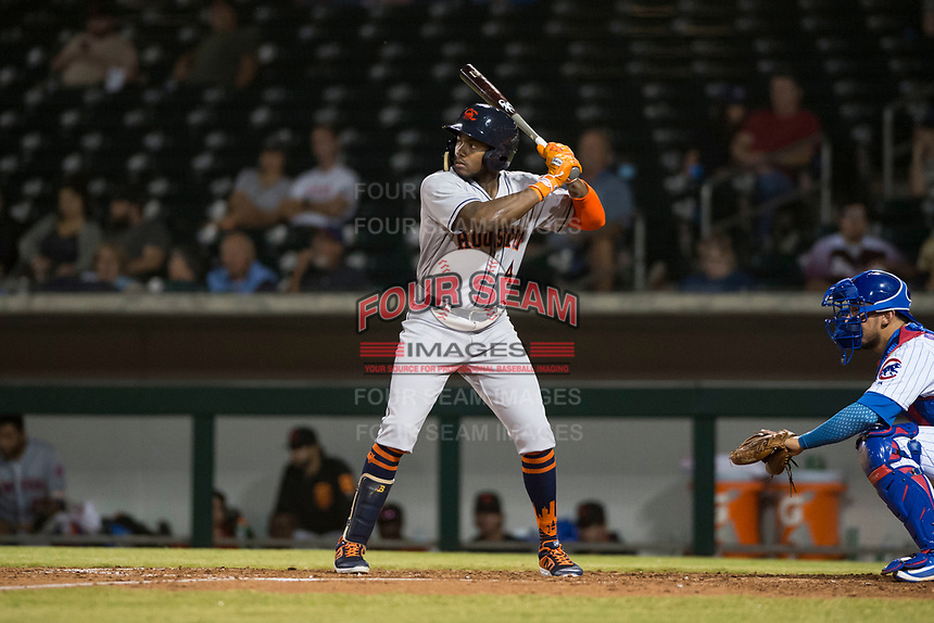 Scottsdale Scorpions center fielder Ronnie Dawson (4), of the Houston Astros organization, at bat in front of catcher Jhonny Pereda (6) during an Arizona Fall League game against the Mesa Solar Sox at Sloan Park on October 10, 2018 in Mesa, Arizona. Scottsdale defeated Mesa 10-3. (Zachary Lucy/Four Seam Images)