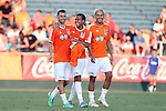 16 August 2014: From left: Carolina's Nick Zimmerman, Gabe Latigue, and Leo Osaki. The Carolina RailHawks played FC Edmonton at WakeMed Stadium in Cary, North Carolina in a 2014 North American Soccer League Fall Season match. Edmonton won the match 3-2.