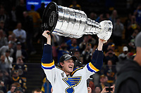June 12, 2019: St. Louis Blues left wing Alexander Steen (20) hoists the Stanley Cup at game 7 of the NHL Stanley Cup Finals between the St Louis Blues and the Boston Bruins held at TD Garden, in Boston, Mass. The Saint Louis Blues defeat the Boston Bruins 4-1 in game 7 to win the 2019 Stanley Cup Championship.  Eric Canha/CSM