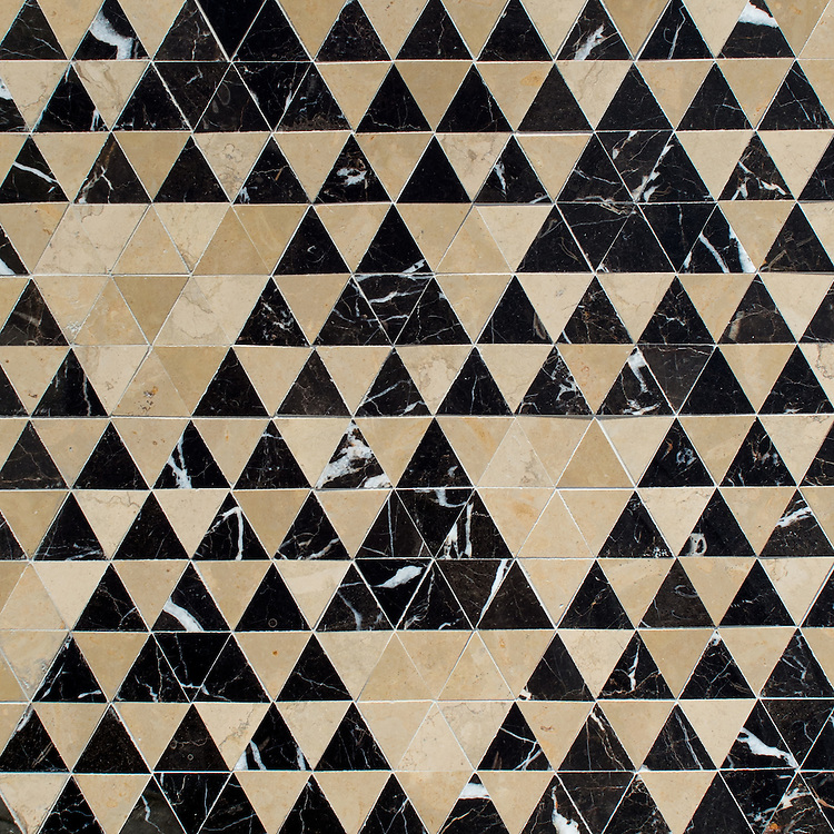 Cyril, a hand-cut stone mosaic, shown in polished Saint Laurent and honed Lagos Gold, is part of the Palazzo™ collection by New Ravenna.