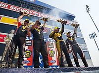 Sep 4, 2017; Clermont, IN, USA; (From left) NHRA pro stock motorcycle rider Eddie Krawiec , pro stock driver Drew Skillman , funny car driver J.R. Todd and top fuel driver Steve Torrence celebrate after winning the US Nationals at Lucas Oil Raceway. Mandatory Credit: Mark J. Rebilas-USA TODAY Sports